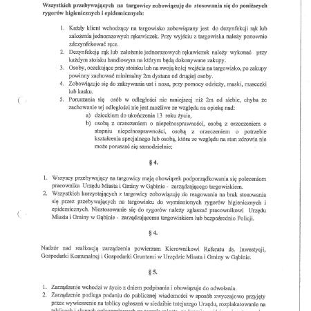 Dopuszczony częściowy handel na targowicy miejskiej w Gąbinie